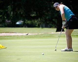 Hannah Ogden puts her ball during the Greatest Golfer junior qualifier on Thursday at Trumbull Country Club in Warren.