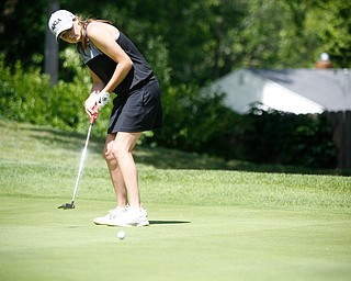 Jackie Adler puts her ball during the Greatest Golfer junior qualifier on Thursday at Trumbull Country Club in Warren.