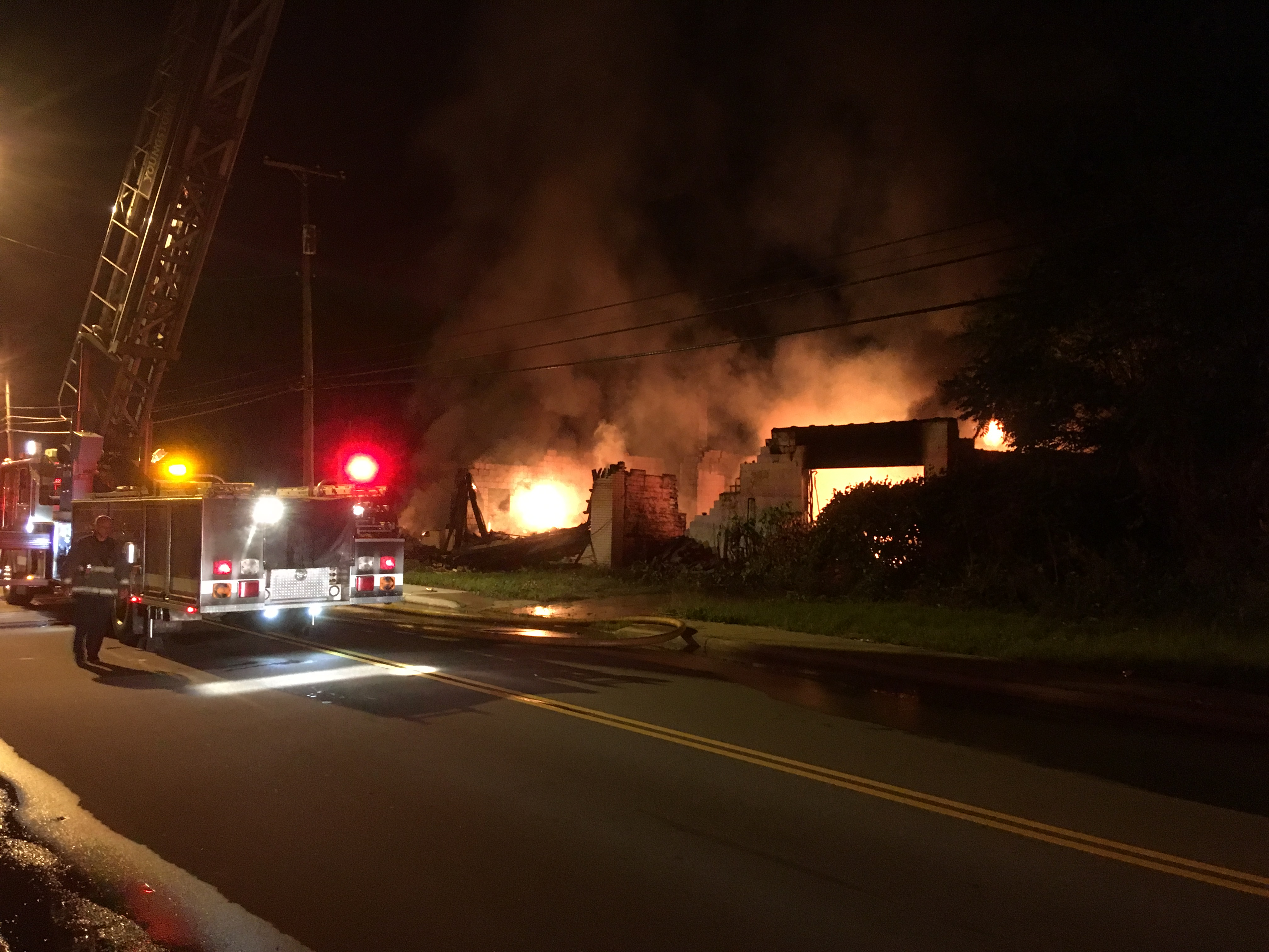 A warehouse at 1127 Poland Avenue caught fire at about 10 p.m. Friday, possibly because of motor vehicles stored inside.