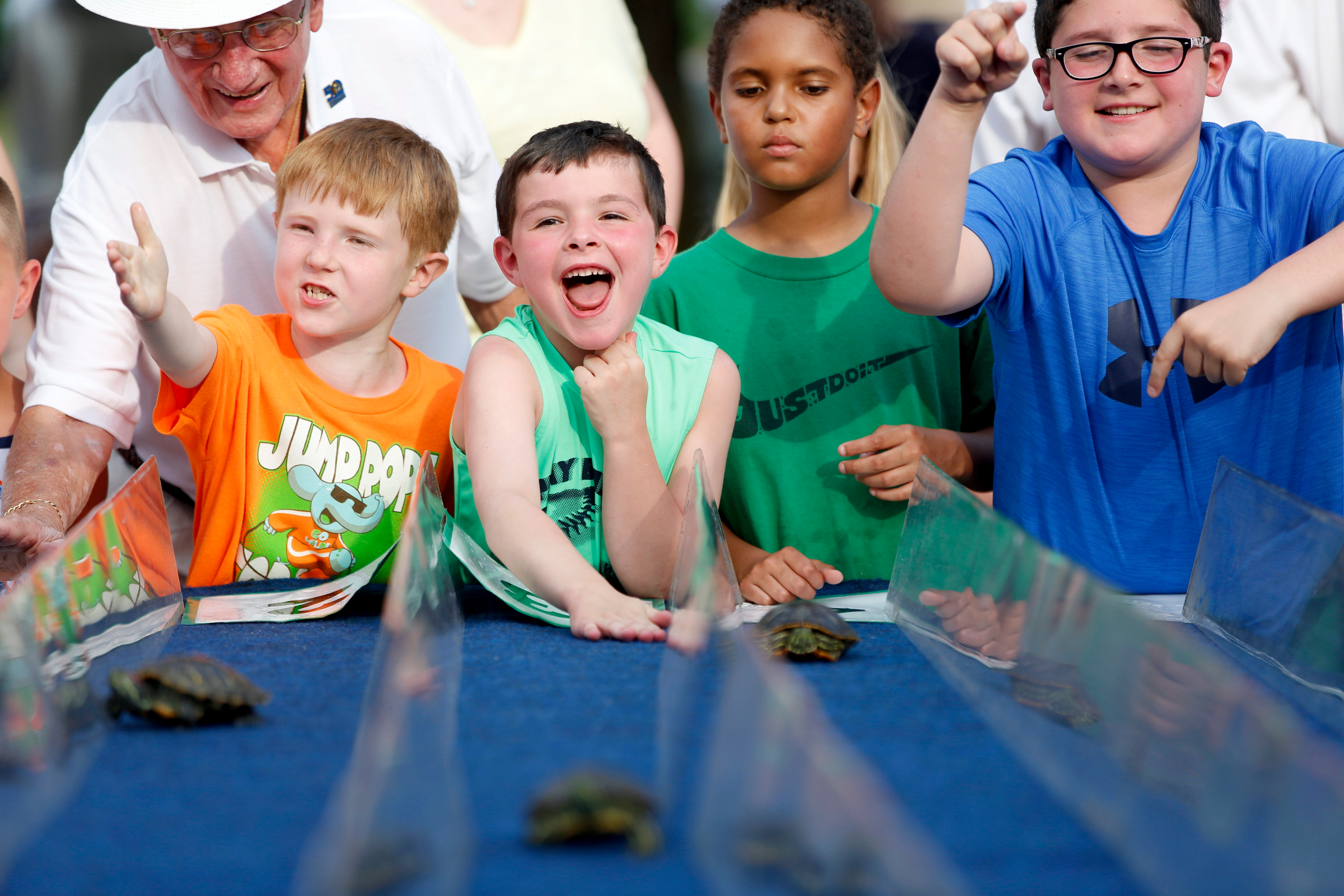 From left, George Kolesar of Boardman, Noah Belgin, 8, of Boardman, John Crilley, 6, of Lowellville, Cole Wildes, 9, of Lowellville and Connor Crilley, 8, of Lowellville, watch and cheer on turtles in the fourth race of the Youngstown Lions Club's 57th Turtle Derby in Lowellville on Monday.