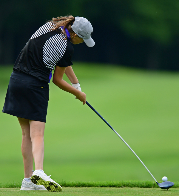 HOWLAND, OHIO - JUNE 19, 2018: Jackie Adler of Hubbard follows her tee shot on the 11th hole, Tuesday afternoon at Avalon Lakes during the Vindy Greatest Golfer qualifying tournament. DAVID DERMER | THE VINDICATOR