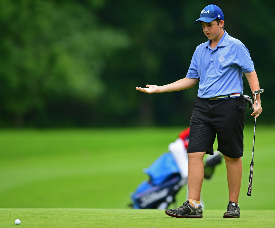 BOARDMAN, OHIO - JUNE 20, 2018: David Stanford, from Vienna, Virginia, reacts after missing a putt on the 12th hole during the second round of the AJGA junior tournament, Wednesday afternoon at Mill Creek Golf Course. DAVID DERMER | THE VINDICATOR