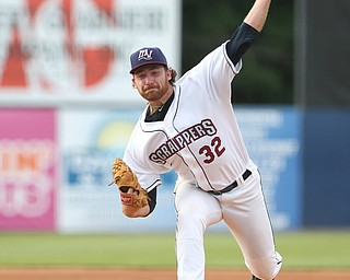 Scrappers starting pitcher Zach Draper (32) completed five innings holdin the crosscutters to five hits during Monday evenings matchup against the Williamsport Crosscutters at Eastwood Field in Niles.