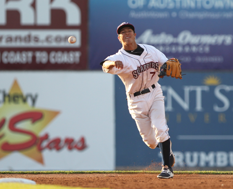 Scrappers second basemen Tyler Freeman throws to first base for an out during Monday evenings matchup against the Williamsport Crosscutters at Eastwood Field in Niles.
