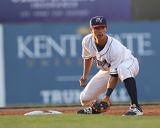 Mahoning Valley Scrappers second basemen Tyler Freeman (7) looks back the runner during Monday evenings matchup against the Williamsport Crosscutters at Eastwood Field in Niles.