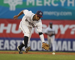 Jose Fermin (12) of the Scrappers charges the ball to make the scoop during Monday evenings matchup against the Williamsport Crosscutters at Eastwood Field in Niles.