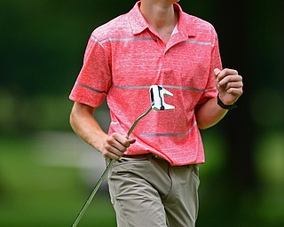 BOARDMAN, OHIO - JUNE 26, 2018: Patrick Kennedy of Boardman pumps his fist after making a putt on the 18th hole, Tuesday afternoon at Mill Creek Golf Course during the Vindy Greatest Golfer. DAVID DERMER | THE VINDICATOR