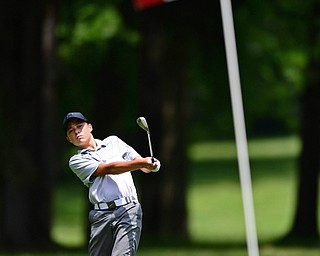 BOARDMAN, OHIO - JUNE 26, 2018: Michael Porter of McDonald follows his shot on the ninth hole, Tuesday afternoon at Mill Creek Golf Course during the Vindy Greatest Golfer. DAVID DERMER | THE VINDICATOR