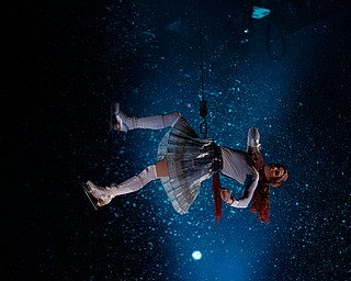 Madeline Stammen performs in mid-air as Crystal in Cirque Du Soleil Crystal in Covelli Centre on Wednesday.