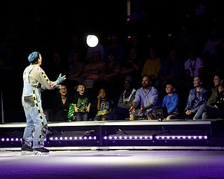 Nathan Cooper throws a ball of light into the audience during Cirque Du Soleil Crystal in Covelli Centre on Wednesday.