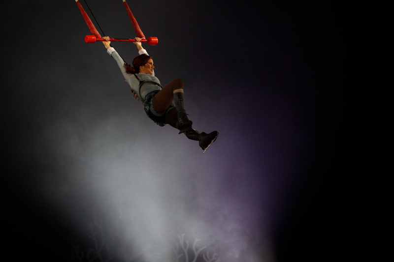 Madeline Stammen performs a trapeze act as Crystal in Cirque Du Soleil Crystal in Covelli Centre on Wednesday.