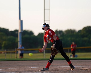 Canfield's Malena Toth pitches during the district championship game against Poland on Sunday.