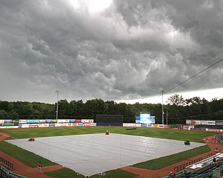 William D. Lewis the Vindicator Storm clouds over Eastwood field 7-5-18 before game with Batavia.