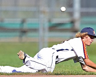 STRUTHERS, OHIO - JULY 7, 2018: Astro's Vince Armani misplays the baseball allowing KnightLine's Kevin Pollock to reach first base in the first inning of a baseball game against Baird Brothers, Saturday, July 7, 2018, in Struthers. DAVID DERMER | THE VINDICATOR