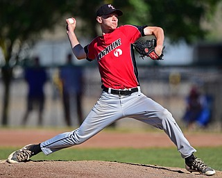 STRUTHERS, OHIO - JULY 7, 2018: KnightLine starting pitcher Tommy Pitch delivers in the first inning of a baseball game against Astro, Saturday, July 7, 2018, in Struthers. DAVID DERMER | THE VINDICATOR