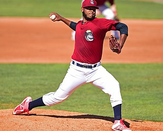 NILES, OHIO - JULY 8, 2018: Mahoning Valley Scrappers starting pitcher Luis Oviedo delivers in the fourth inning of a baseball game against the Williamsport Crosscutters, Sunday, July 8, 2018, in Niles. The Crosscutters won 8-4. DAVID DERMER | THE VINDICATOR