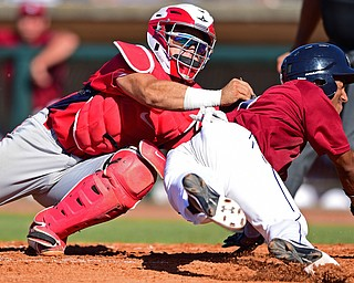 NILES, OHIO - JULY 8, 2018: Mahoning Valley Scrappers' Richard Palacios is tagged out by Williamsport Crosscutters' Rafael Marchan in the sixth inning of a baseball game, Sunday, July 8, 2018, in Niles. The Crosscutters won 8-4. DAVID DERMER | THE VINDICATOR