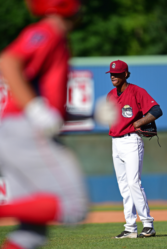 NILES, OHIO - JULY 8, 2018: Mahoning Valley Scrappers relief pitcher Luis Valdez waits for Williamsport Crosscutters' Ben Aklinski to run the bases after hitting a three run home run in the seventh inning of a baseball game, Sunday, July 8, 2018, in Niles. The Crosscutters won 8-4. DAVID DERMER | THE VINDICATOR