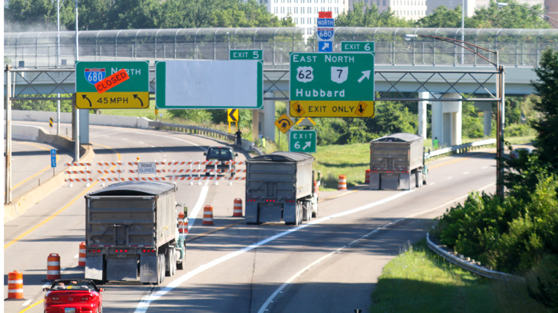 Traffic flows from Interstate 680 North to a detour at U.S. Route 62 on Monday as the Ohio Department of Transportation begins work on a construction project that required closing part of the interstate's northbound lanes.