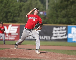 Knightline's Adam Jannette pitches the ball in the third inning of the Class B tournament game against Baird Brothers on Tuesday.