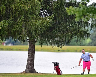 SALEM, OHIO - JULY 10, 2018: Andy Murphy of Youngstown follows his approach shot on the 9th hole during the Vindy Greatest Golfer Qualifier, Tuesday afternoon at Salem Hills Golf Course. DAVID DERMER | THE VINDICATOR