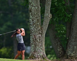 SALEM, OHIO - JULY 10, 2018: Carly Ungaro follows her approach shot on the tenth hole during the Vindy Greatest Golfer Qualifier, Tuesday afternoon at Salem Hills Golf Course. DAVID DERMER | THE VINDICATOR