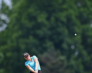 SALEM, OHIO - JULY 10, 2018: Emily Jackson of Boardman follows her approach shot on the tenth hole during the Vindy Greatest Golfer Qualifier, Tuesday afternoon at Salem Hills Golf Course. DAVID DERMER | THE VINDICATOR