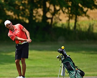 SALEM, OHIO - JULY 10, 2018: Jimmy Graham follows his approach shot on the 16th hole during the Vindy Greatest Golfer Qualifier, Tuesday afternoon at Salem Hills Golf Course. DAVID DERMER   THE VINDICATOR