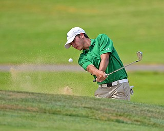 SALEM, OHIO - JULY 10, 2018: Kyle Koziel of Poland follows his shot from the sand trap on the 16th hole during the Vindy Greatest Golfer Qualifier, Tuesday afternoon at Salem Hills Golf Course. DAVID DERMER | THE VINDICATOR
