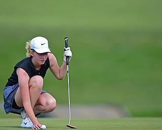 SALEM, OHIO - JULY 10, 2018: Kristen Shaw from Poland line up her putt on the 10th hole during the Vindy Greatest Golfer Qualifier, Tuesday afternoon at Salem Hills Golf Course. DAVID DERMER | THE VINDICATOR