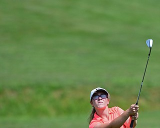 SALEM, OHIO - JULY 10, 2018: Sophia Yurich of Poland follows her approach shot on the 10th hole during the Vindy Greatest Golfer Qualifier, Tuesday afternoon at Salem Hills Golf Course. DAVID DERMER | THE VINDICATOR