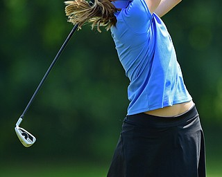 SALEM, OHIO - JULY 10, 2018: Haley Tisone of Canfield follows her tee shot on the 11th hole during the Vindy Greatest Golfer Qualifier, Tuesday afternoon at Salem Hills Golf Course. DAVID DERMER   THE VINDICATOR