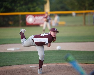 Boardman's Ryan Neifer pitches the ball to Canfield during the Little League baseball 11-U playoff game on Wednesday.
