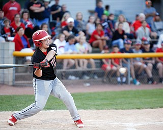 Canfield's AJ Hewko swings at the ball during second inning of the Little League baseball 11-U playoff game against Boardman on Wednesday.
