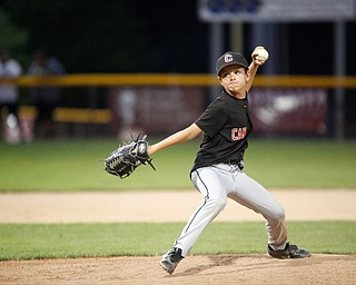 Canfield's Drew Snyder pitches during fourth inning of the Little League baseball 11-U playoff game against Boardman on Wednesday.