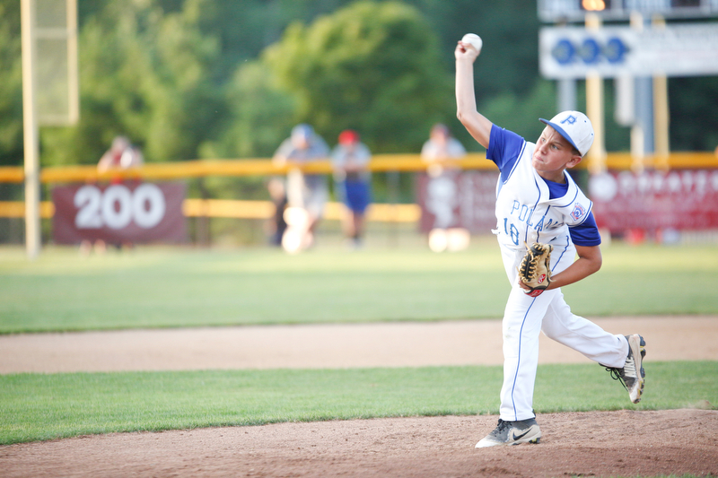 Poland's Matt Paparoois pitches the ball during the second inning of the 12u district championship game against Boardman at Field of Dreams in Boardman on Thursday.