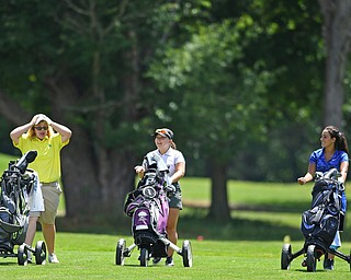 HERMITAGE, PENNSYLVANIA - JULY 12, 2018: (LtoR) Erika Hoover of New Castle, Olivia Taylor of Niles and Carly Ungaro of Poland walk on the fairway of the 8th hole, Thursday afternoon during the Vindy Greatest Golfer tournament at Tam O'Shanter in Hermitage. DAVID DERMER | THE VINDICATOR