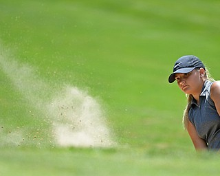 HERMITAGE, PENNSYLVANIA - JULY 12, 2018: Alyssa Rapp from Poland follows her shot from the sand trap on the 8th hole, Thursday afternoon during the Vindy Greatest Golfer tournament at Tam O'Shanter in Hermitage. DAVID DERMER | THE VINDICATOR