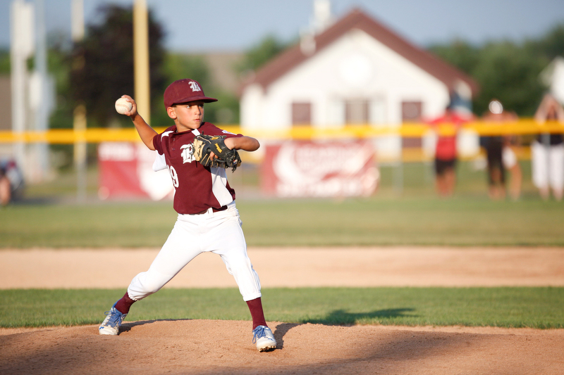 Boardman's Gabe Hammerton pitches the ball during the 10u championship game against Poland at Field of Dreams on Friday.