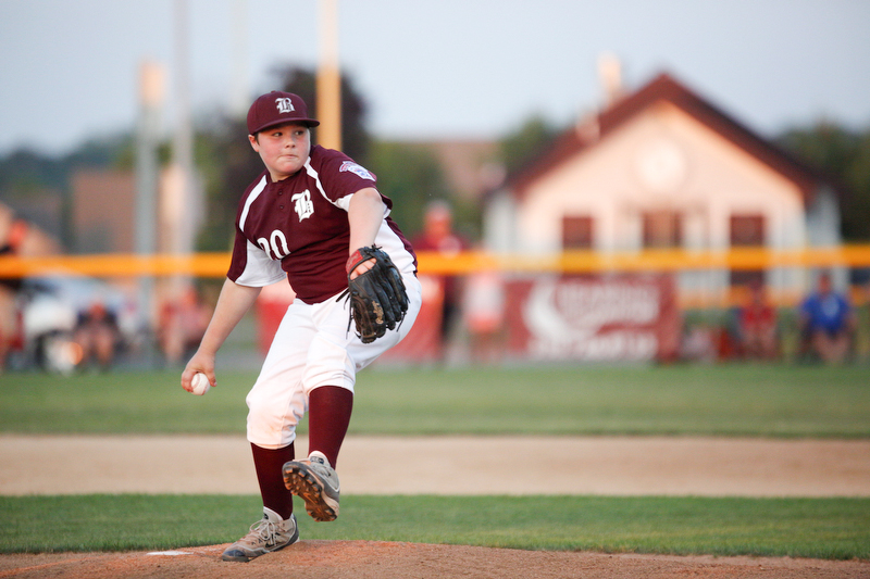 Boardman's Ryan Conti pitches the ball during the 12u championship game against Poland at Field of Dreams on Friday.