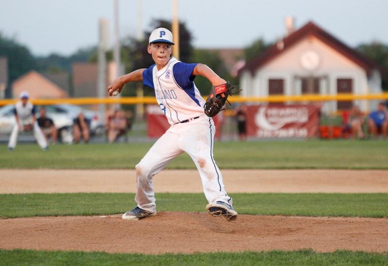Poland's TJ Rickey pitches the ball during the 12u championship game against Boardman at Field of Dreams on Friday.