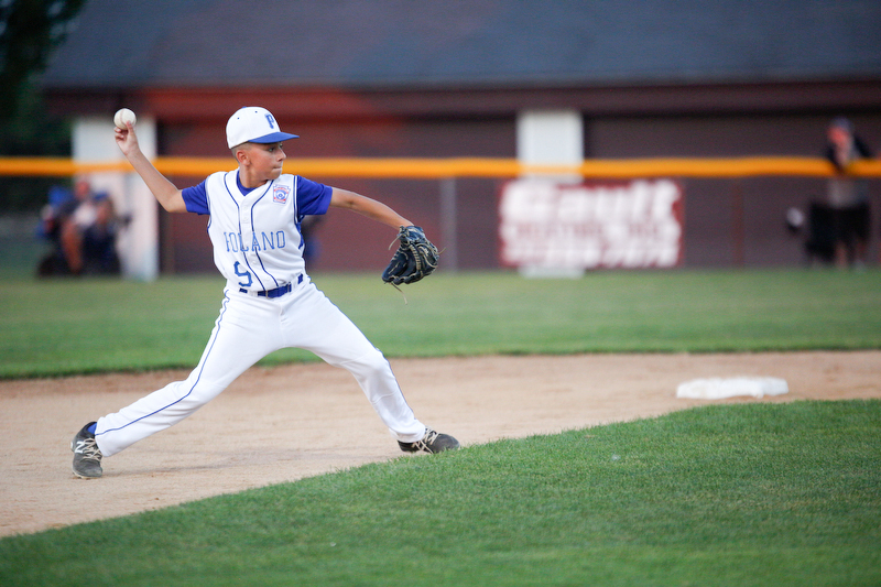 Poland's Ryan DiLullo pitches the ball during the 12u championship game against Boardman at Field of Dreams on Friday.