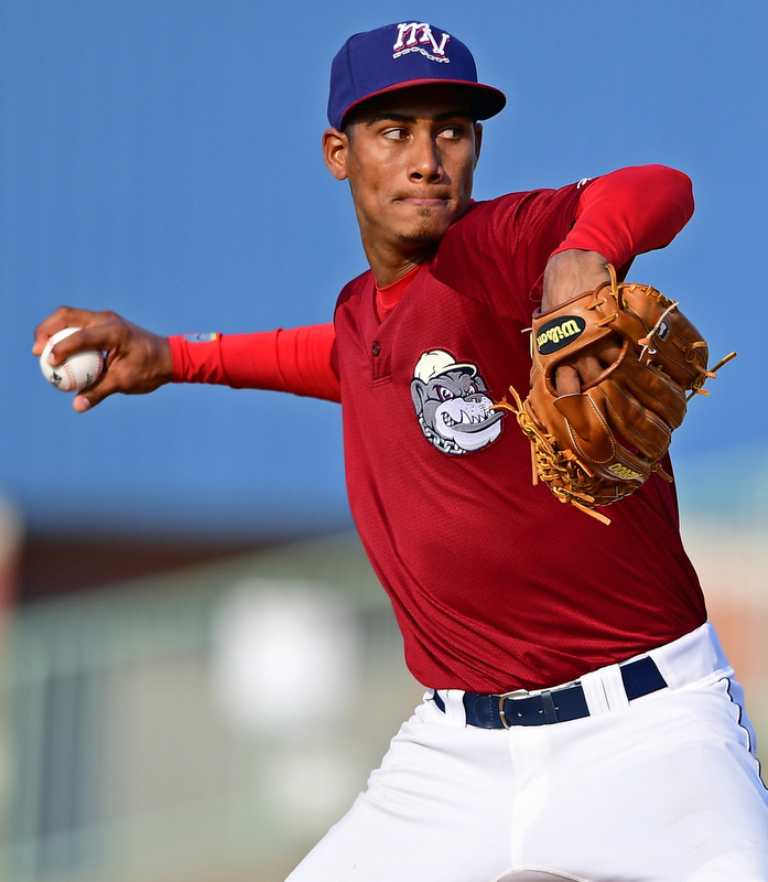 NILES, OHIO - JULY 15, 2018: Mahoning Valley Scrappers relief pitcher Luis Santos delivers in the seventh inning of a baseball game against raw Hudson Valley Renegades, Sunday, July 15, 2018, in Niles. The Scrappers won 8-6. DAVID DERMER | THE VINDICATOR