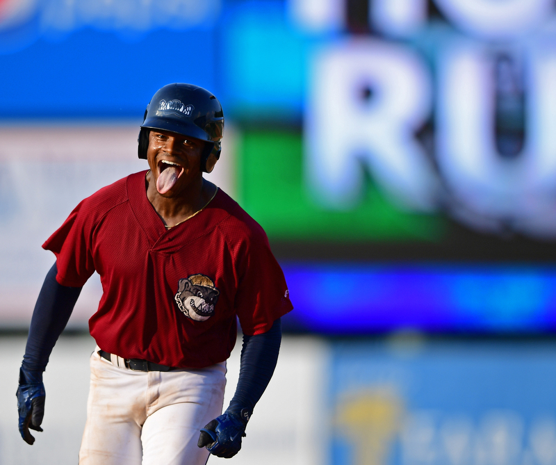 NILES, OHIO - JULY 15, 2018: Mahoning Valley Scrappers' Hosea Nelson runs the bases after hitting a walk-off home run off Hudson Valley Renegades relief pitcher Jesus Ortiz in the ninth inning, Sunday, July 15, 2018, in Niles. The Scrappers won 8-6. DAVID DERMER | THE VINDICATOR