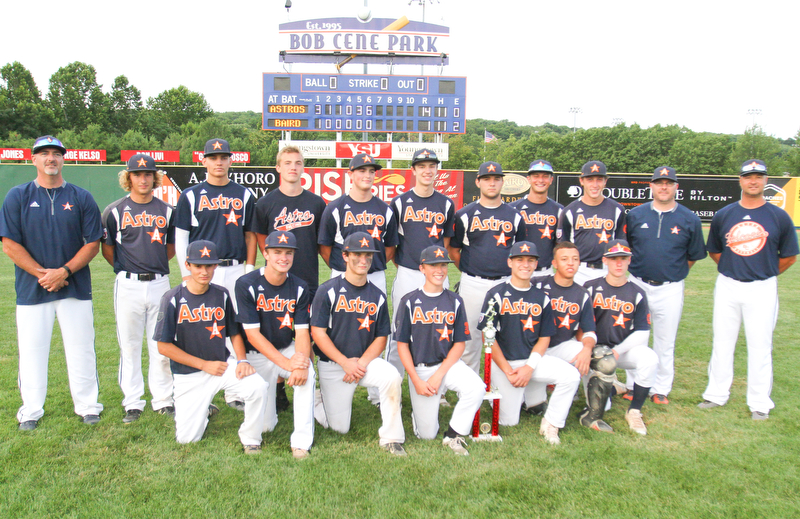 WilliamD. Lewis The Vindicator  Astros withthe trophy after 7-17-18 game with Baird at Cene.