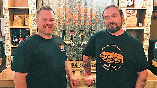 Biker Brewhouse owner Larry Wilson and brewer Lyle Valentich have the only brewery inside a Harley-Davidson dealership anywhere.