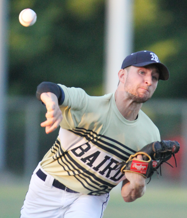 William D. Lewis The Vindicaotr  Baird pitcher Garrett Miller (23) delivers during 7-19-18 game with Troy at Cene.