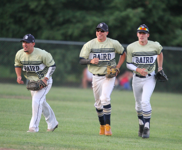 William D. Lewis The Vindicator  Baird's Matt Gibson(25) gets congrats from Jacob McCaskey(21) and Connor Rakow(27) after catching a fly ball to end the 2nd inning  during 7-19-18 game with Troy at Cene.