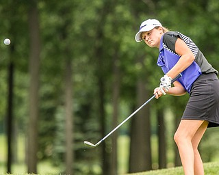 DIANNA OATRIDGE | THE VINDICATOR Jacquelyn Adler, from Hubbard, chips on to the green during final round of the Greatest Golfer junior tournament at Avalon Lakes in Howland on Saturday.