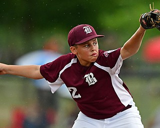 NORTH CANTON, OHIO - JULY 22, 2018: Boardman starting pitcher Gavin Hyde delivers in the fifth inning of a Little League baseball game, Sunday night in North Canton. DAVID DERMER   THE VINDICATOR